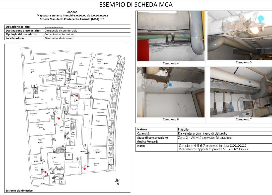 amianto censimento scheda MCA manufatti