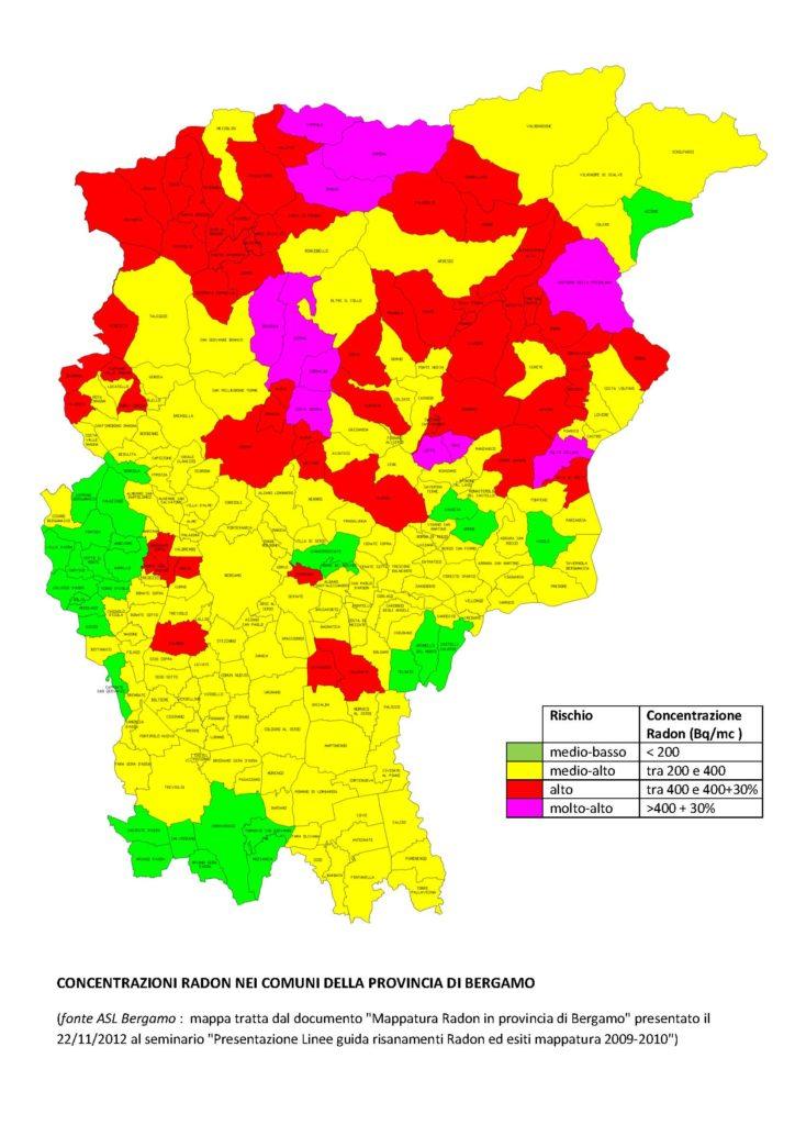Radon provincia Bergamo